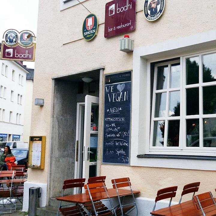 Das vegane Restaurant Bodhi in München von außen