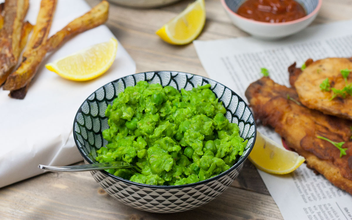 fish and chips vegan dazu erbsenpüree