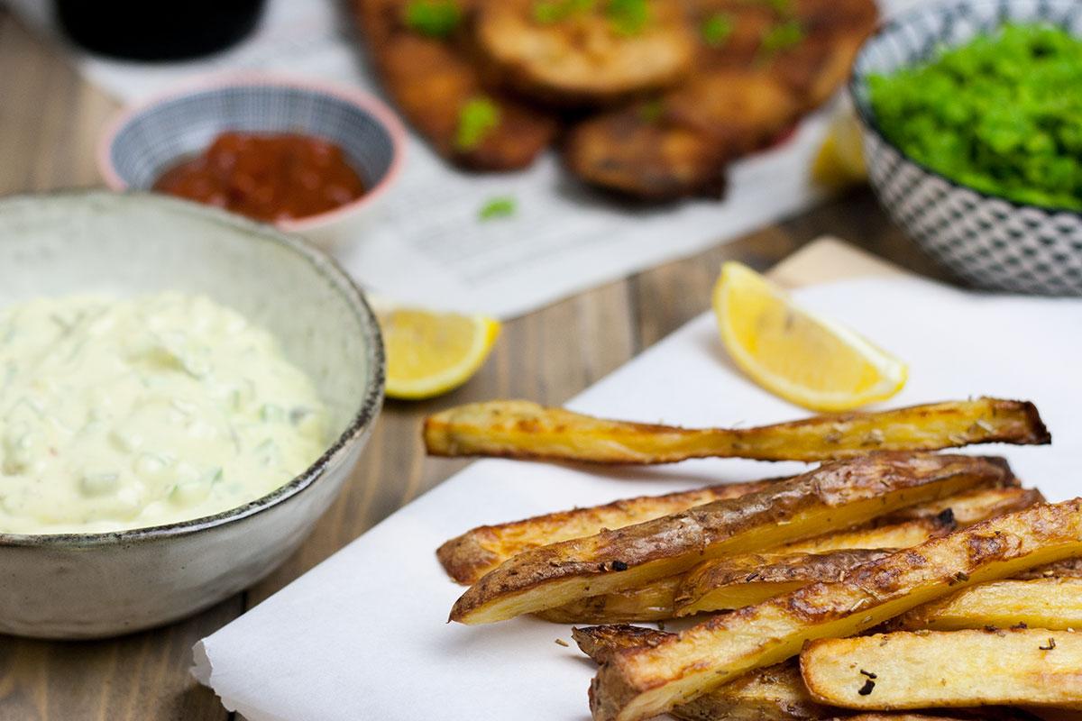 Fish and Chips vegan mit hausgemachten Pommes