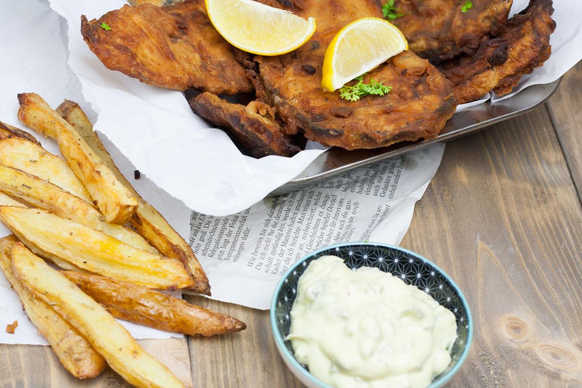fish and chips vegan mit Tatarsauce