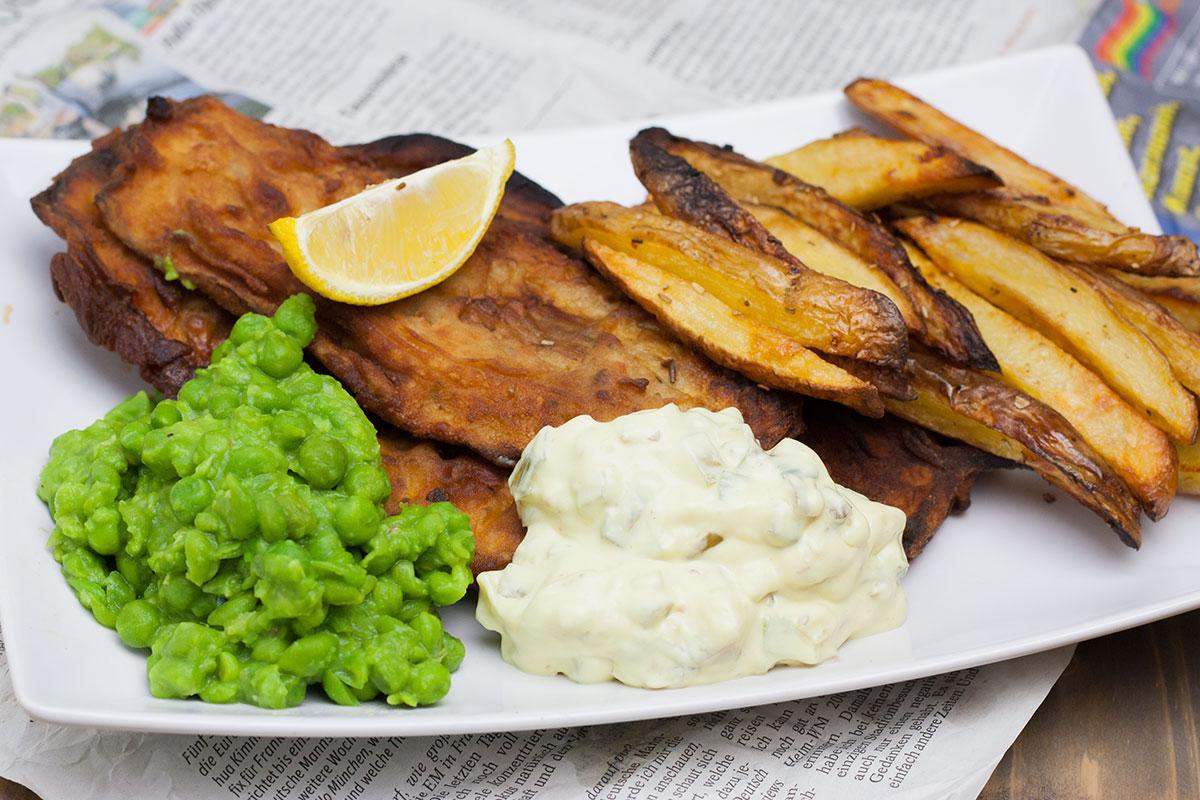 vegane fish and chips so sieht das auf dem teller aus