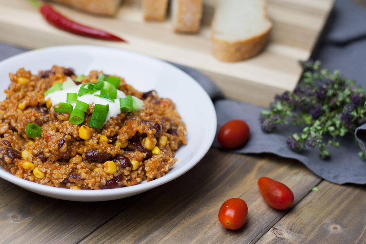 Chili sin Carne mit Grünkernschrot