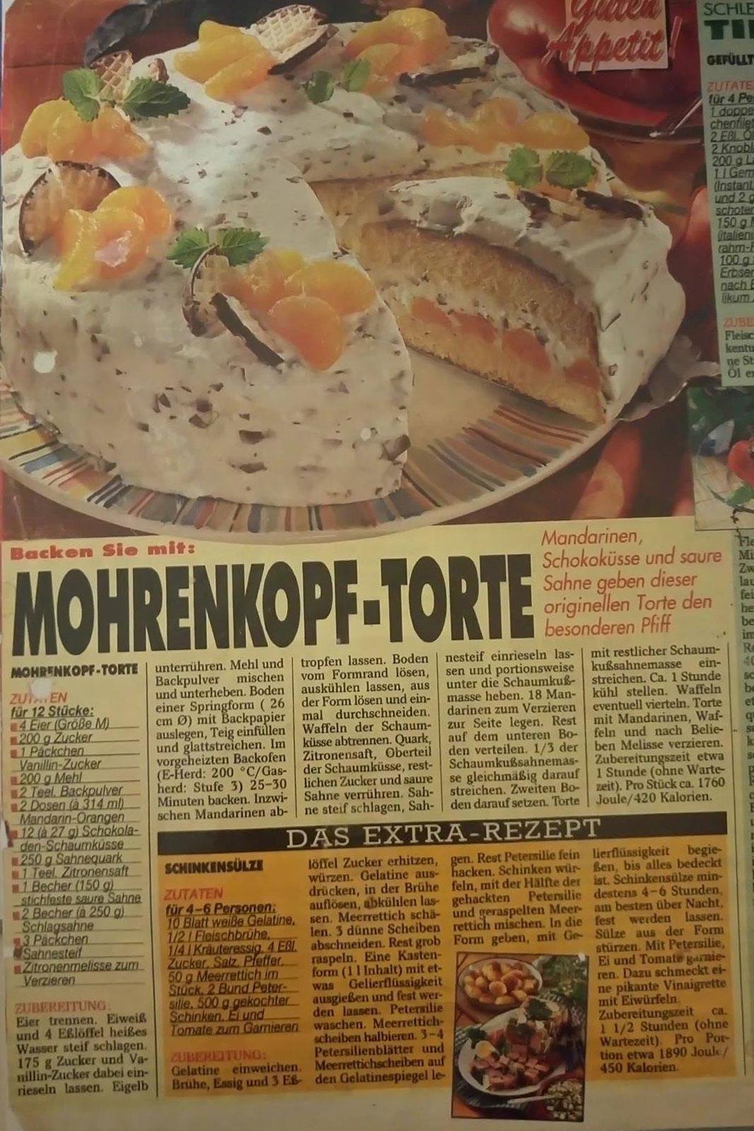 Ausschnitt aus Zeitschrift Original Schokokusstorte