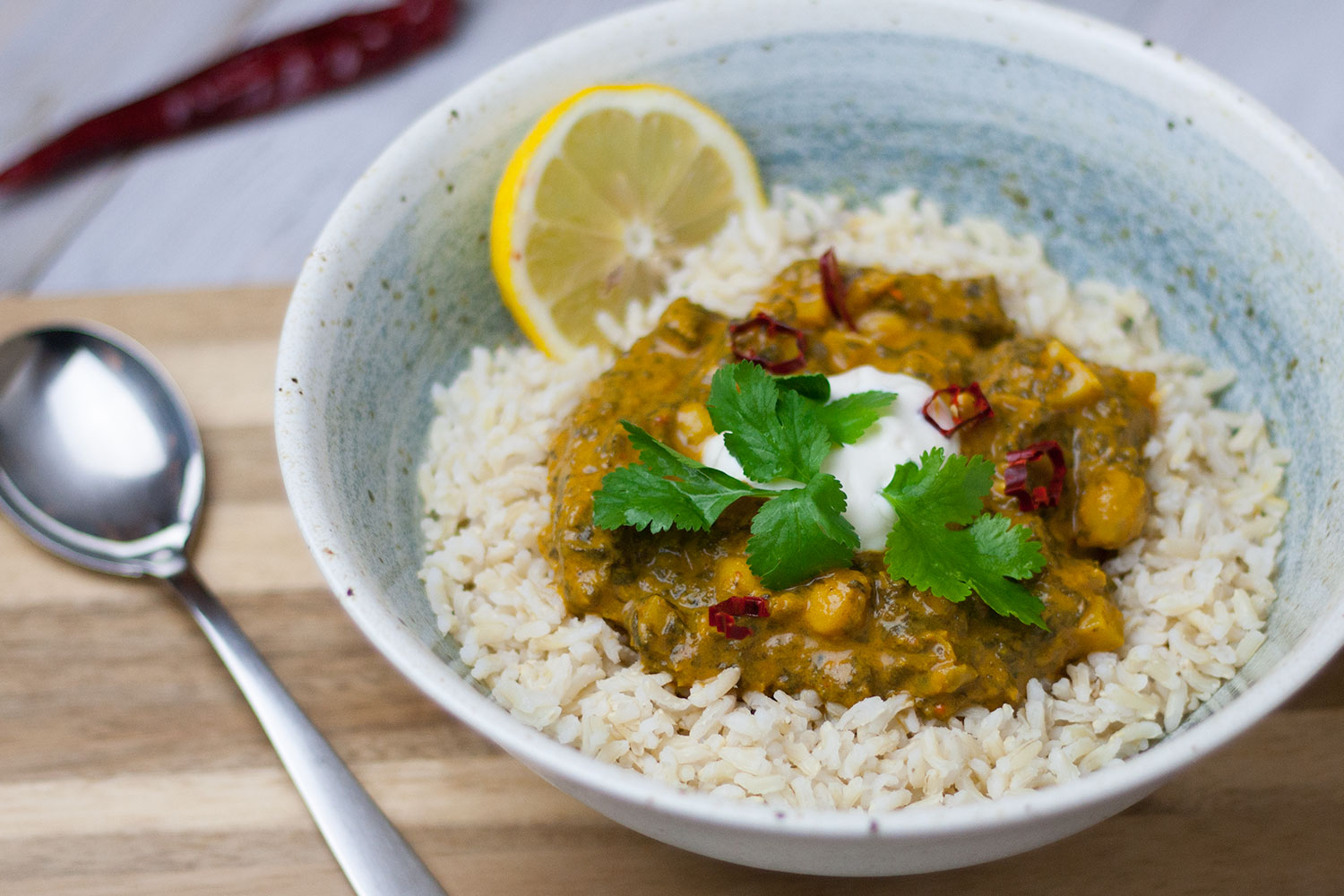 Indisches veganes Curry mit Kichererbsen