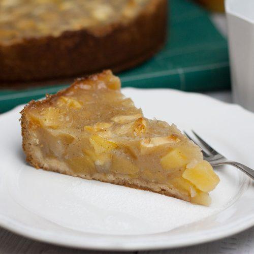 Veganer Apfelkuchen mit einem Guss aus Pudding