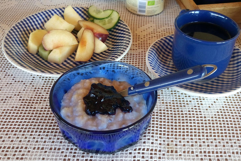 vegan essen in Island, hier Havregröt zubereitet von der Gastgeberin im Airbnb