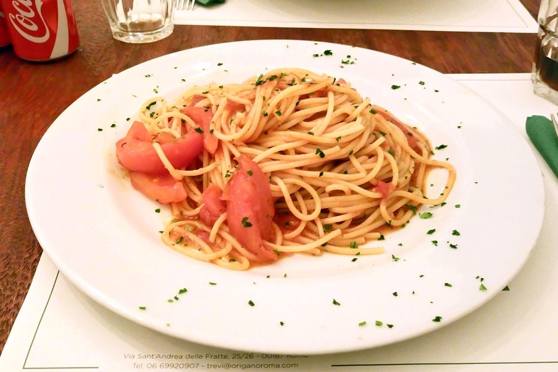 vegan essen in Rom im Restaurant Origano Campo de' Fiori, das Essen, Pasta