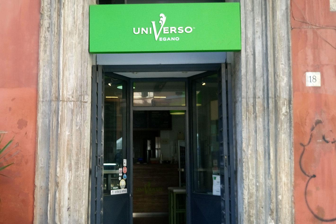 vegan Essen in Rom im Universo Vegano, von außen