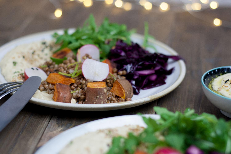 buchweizen salat mit s kartoffel hummus vegan gf rezept. Black Bedroom Furniture Sets. Home Design Ideas