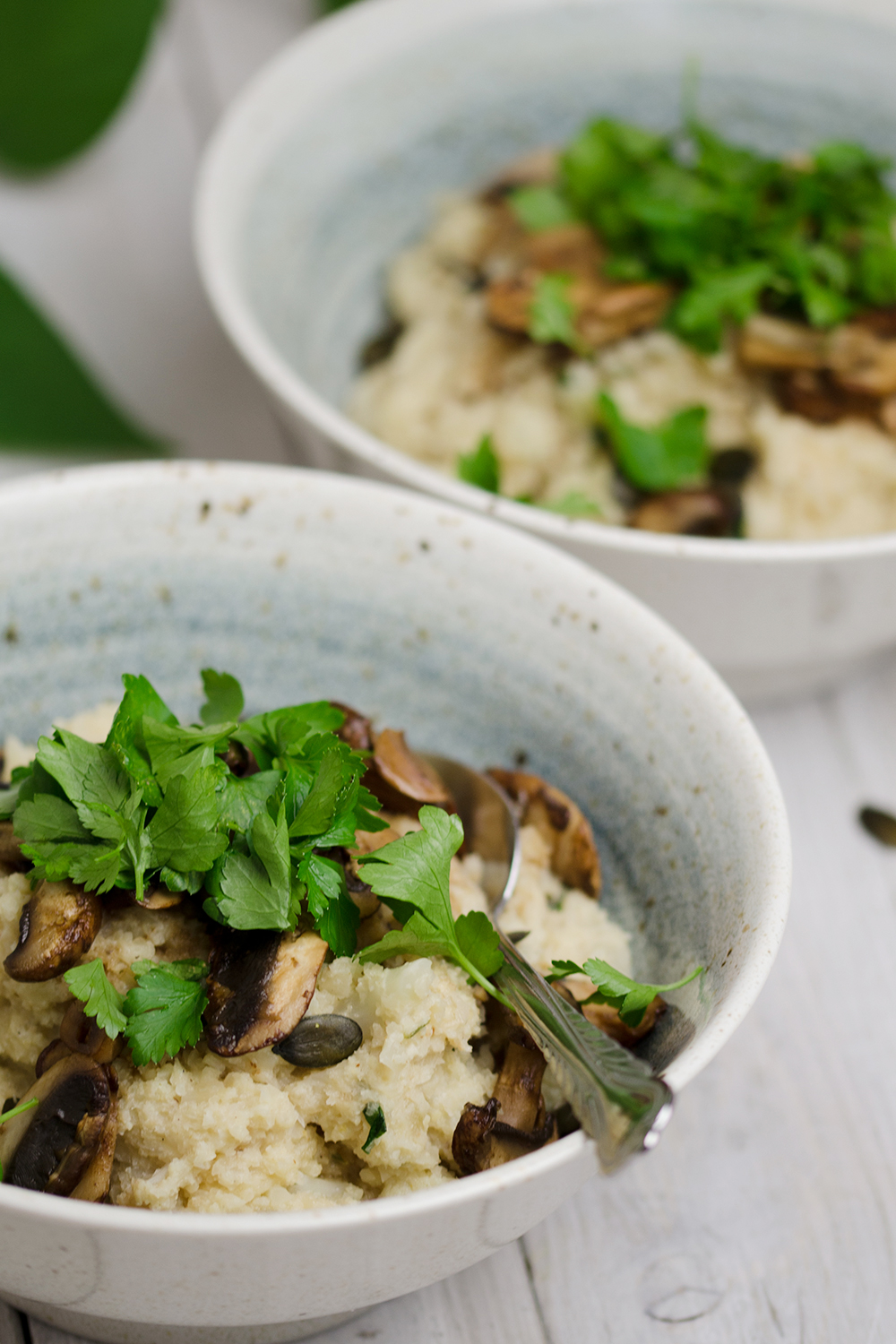 paleo low carb Cauliflower Risotto with Mushrooms - Blumenkohlrisotto mit Balsamico-Champignons