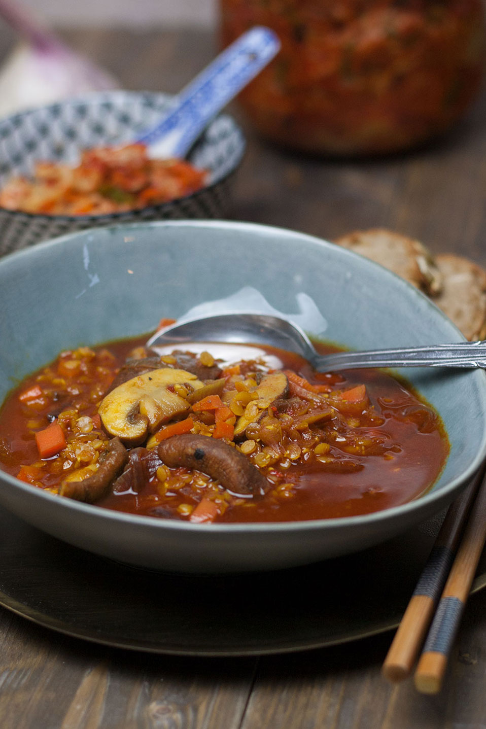 Strong Lentil Soup with Mushrooms   Kräftige Linsensuppe mit Pilzen und Karotten