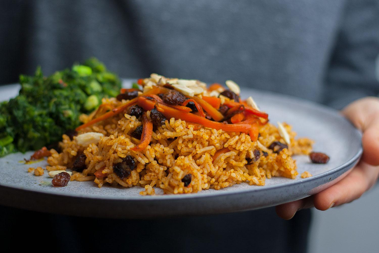 quick Kabuli Palau - afghan national dish | schnelle Variante des afghanischen Kabuli Palau vegan