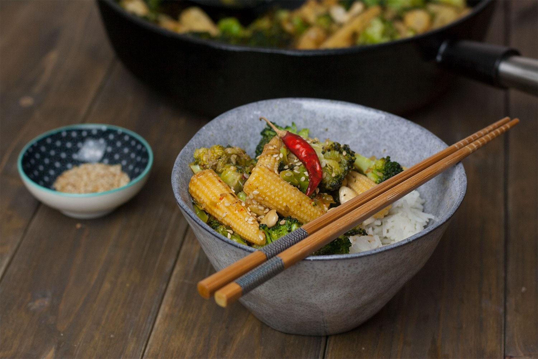 Rezept für eine einfache Teriyaki Gemüse Pfanne