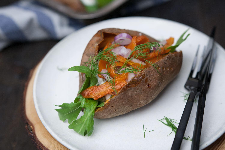 Ofen Süßkartoffel mit Karottenlachs