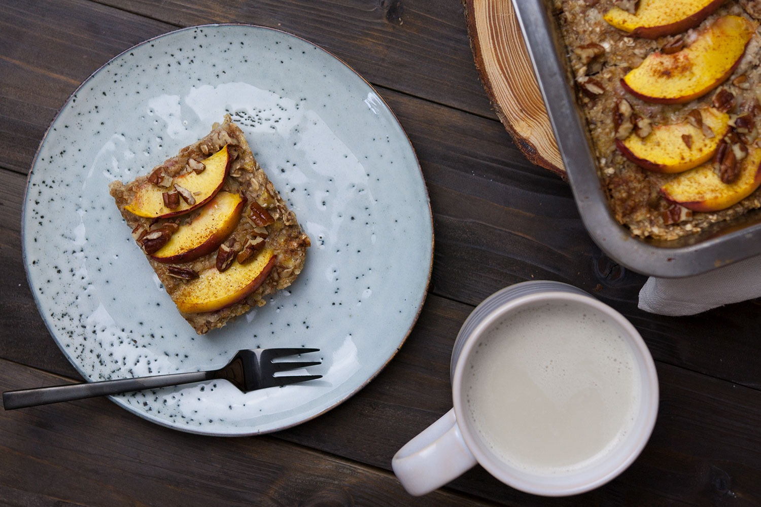 Bakes Oatmeal mit Pfirsich