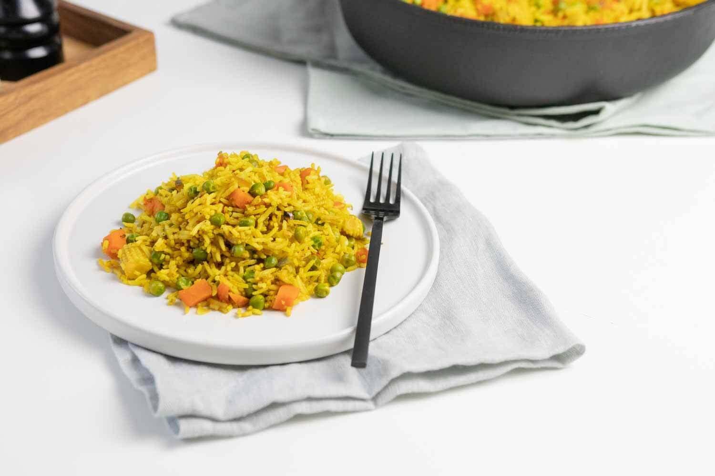 Vegane Gemüsepfanne mit Reis