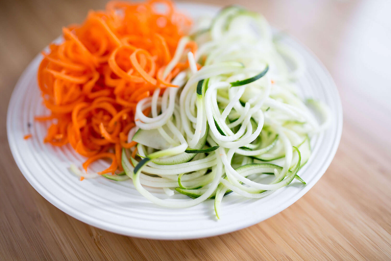 Spiralförmig geschnittenes Gemüse