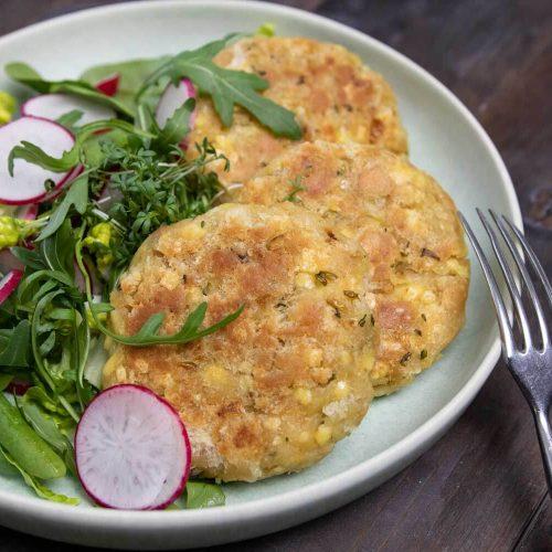 vegane Kaspressknödel, Pfannensemmelknödel mit veganem Käse